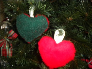 Our Special Ornaments made from Jeff's Christmas Stocking stuffed with filling from his favorite pillow.